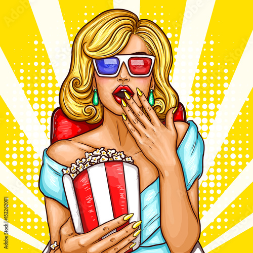 Vector pop art illustration of a excited blond woman sitting in the auditorium and watching a 3D movie.