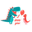 Vector brightly amorous dinosaur enamored - 152265216