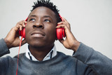 African american man listen music with headphones