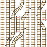 Fototapety Seamless vector railroad pattern. Top view path background. Urban map plan. Roadmap rail illustration.