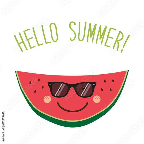 Cute card Hello summer as funny hand drawn cartoon character of watermelon