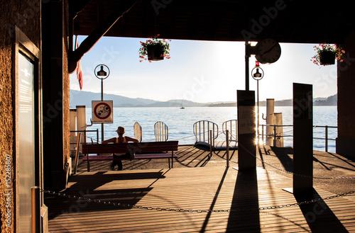 boat pier waiting area at lake Lucerne, Lucerne, Switzerland Poster