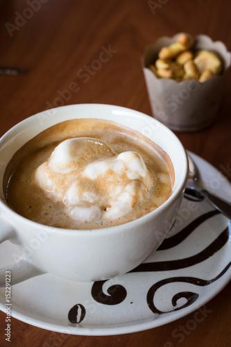 Hot coffee with ice-cream