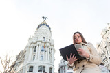 businesswoman working in Madrid