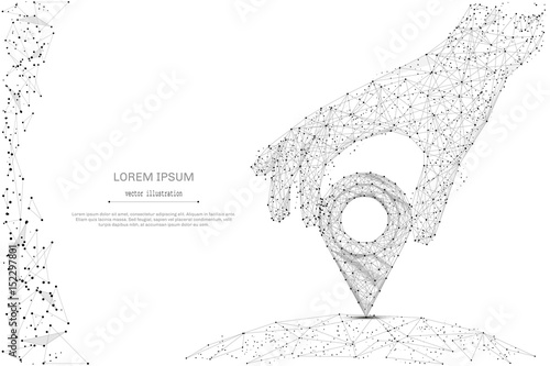 Abstract mash line and point hand holding pin on white background with an inscription. Starry sky or space, consisting of stars and the universe. Vector business illustration - 152297801