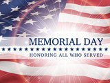 Fototapety Memorial Day, honoring all who served - poster with the flag of the United States of America