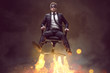 Mann auf Bürostuhl mit Raketenantrieb - 152300840