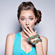Young beautiful woman with jewelry.