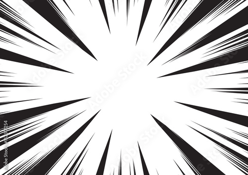 Background of radial lines for comic books. Manga speed frame, superhero action, explosion background. Black and white vector illustration - 152301254