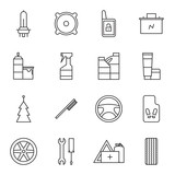 Set of car accessories icons
