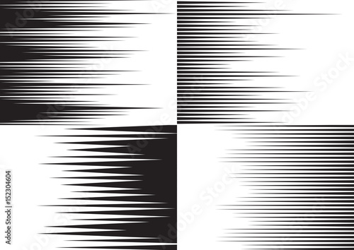 Horisontal speed lines for comic books. Four black and white templates for backgrounds. Vector illustration - 152304604
