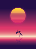 Summer beach party vector banner or flyer template. 80s retro neon glow style. Palm trees on horizon.