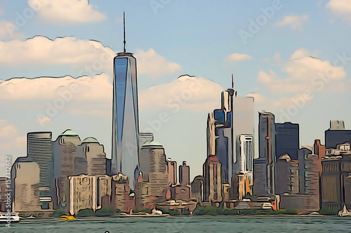 Manhattan Skyline Watercolor Painting Canvas Print