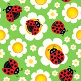 Flowers and ladybugs seamless background