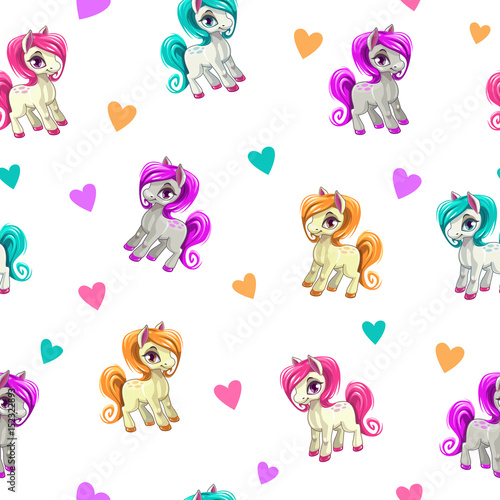 Cute seamless pattern with funny cartoon pony and hearts on white background. Vector girlish texture - 152322893