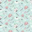 Cotton fabric Seamless flower pattern. Soft floral print. Vector background
