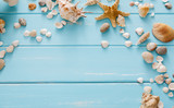Seashells on blue wood, sea vacation background - 152326026
