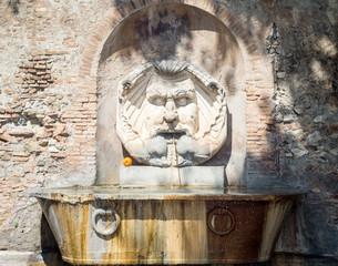 Beautiful fountain in orange gardens in Rome, Italy