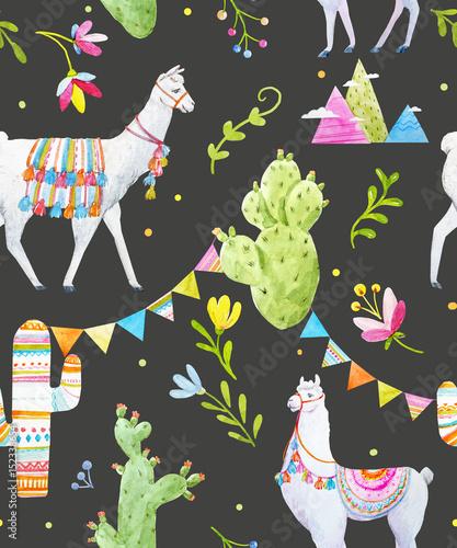 Watercolor lama pattern - 152338654