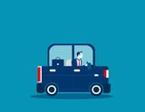 Businessman driving car. Concept business illustration. Vector business transport.