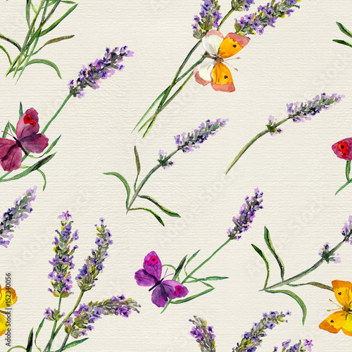 Fototapeta Lavender flowers, butterflies. Watercolor seamless pattern