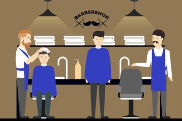 Barbershop salon inside.