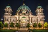 berlin cathedral illuminated at night