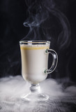 White hot chocolate with coconut in a haze