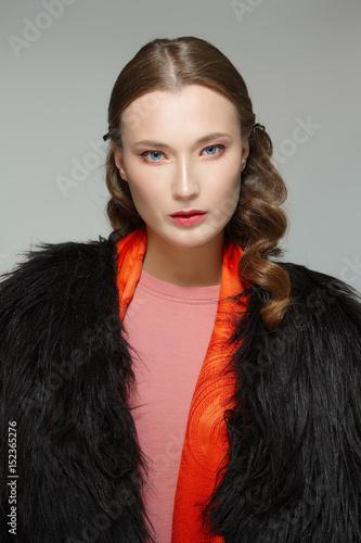 Beautiful fashion model in fur coat Poster