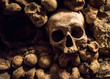 Skulls and bones in Paris Catacombs