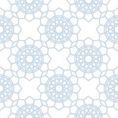 Abstract geometric pattern. Light blue and white seamless background. Stylized kaleidoscope pattern. Vector background