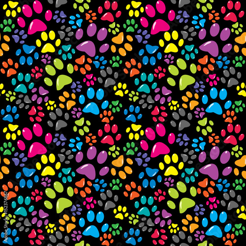 obraz PCV Colorful background with paws