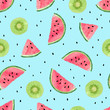 Seamless pattern with watercolor kiwi fruit and watermelon slices. Summer vector background. - 152378611