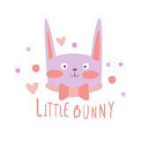 Cute cartoon little bunny colorful hand drawn vector Illustration