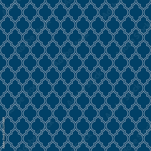 Flat outline blue moroccan seamless pattern vector - 152395669
