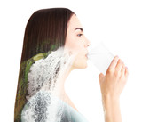 Fototapety Beautiful girl drinking water