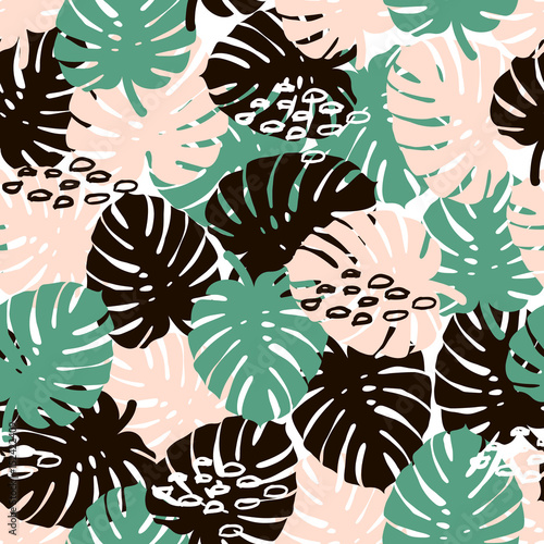 Fototapeta Palm branch trendy seamless pattern with hand drawn elements. Monstera leaf background. Great for fabric, textile Vector Illustration