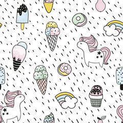 Creative seamless pattern with unicorn, donut, ice cream,rainbow. Doodle childish background. Vector Illustration
