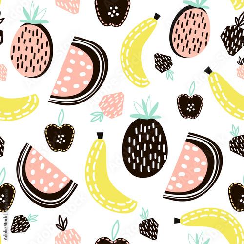 Fototapeta Exotic fruit seamless pattern. Great for kids fabric, textile, Vector Illustration