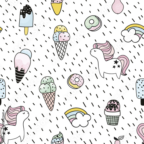 Cotton fabric Creative seamless pattern with unicorn, donut, ice cream,rainbow. Doodle childish background. Vector Illustration