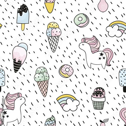 Materiał do szycia Creative seamless pattern with unicorn, donut, ice cream,rainbow. Doodle childish background. Vector Illustration