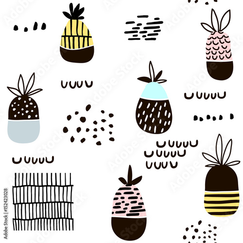 Fototapeta Seamless pattern with pineapple. Modern minimalistic texture with hand drawn shapes and exotic fruits. Great for fabric,textile.Vector background
