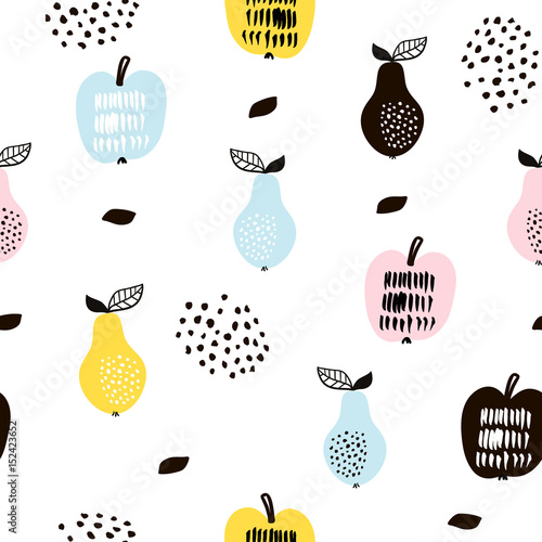 Seamless pattern with creative modern fruits. Hand drawn trendy background. Great for fabric and textile. Vector Illustration - 152423652