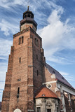 Church tower in the Gothic style in Leszno.