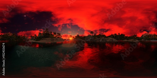 Fotobehang Rood beautiful 360 panorama of a palms beach of an island