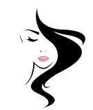 Fototapety women long hair style icon, logo women face on white background