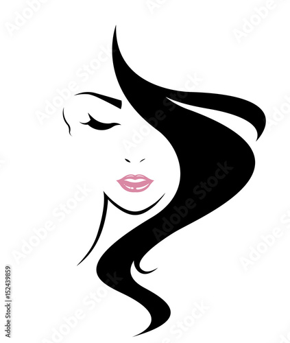 women long hair style icon, logo women face on white background - 152439859