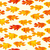 Bright seamless pattern with goldfish. Watercolor hand drawn kids illustration. Hand drawn seamless pattern (tiling) with Fishes. Doodle style.  Isolated objects on a white background.