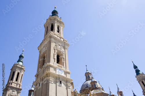 view of the towers of El Pilar, Zaragoza's cathedral in Spain