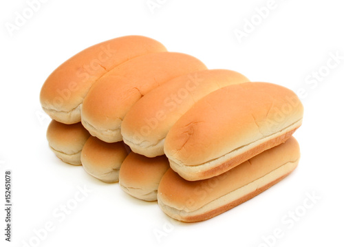 Hot dog buns isolated on white background Poster